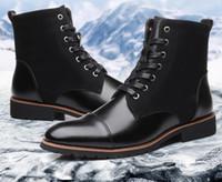 yeni kürk botları toptan satış-Sıcak Satış-2019 Yeni Erkekler Sıcak Kış Peluş Kürk Kar Boots Dantel-up Motosiklet Boots El Yapımı Ayakkabı botas Bota Erkek Ayakkabı