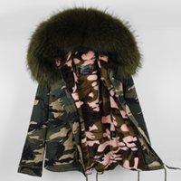 ingrosso le donne verso il basso-Large Real Raccoon collo di pelliccia e di buona qualità Velvet Liner rimovibile caldo per donna corto mini Camouflage Down parka maomaokong