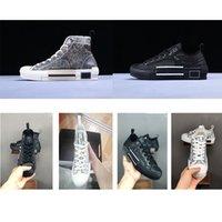 homens impressão leopardo venda por atacado-Com Box Dior B23 alta-Top Oblique Sneakers B23 baixo-top sneaker Oblique cópia do leopardo luxo Designer B23 Sneakers Homens Mulheres Branco instrutor