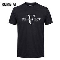 col parfait achat en gros de-Mode d'été pour hommes RF T-shirts design parfaits Roger Federer T-shirts à manches courtes et col en V Streetwear T-shirts HipHop Tops SN5