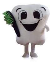 trajes de dentes venda por atacado-2019 venda direta da fábrica dente trajes da festa do traje da mascote fantasia dental cuidados caráter mascote vestido de parque de diversões dentes de roupa