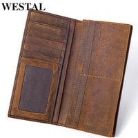Wholesale horse wallets purses for sale - Group buy Westal Men s Genuine Leather Wallet Purse Male Crazy Horse Leather Wallets Long Coin Purse Men s Clutch Bags For Cards Y19052104