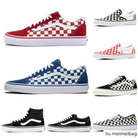 Wholesale Cheap house of van of the wall old skool sk8 canvas sneakers for youth boys girls triple black and white plaid sports trainers