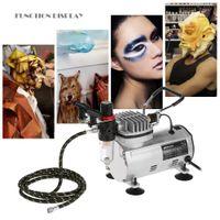 neue airbrush-malerei großhandel-KKmoon New 3 Airbrush Kit Mit Luftkompressor Dual-Action Hobby Spray Airbrush Set Tattoo Nail Art Lackversorgung Reinigungsbürste