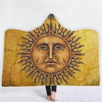 Wholesale india blanket for sale - Group buy India Religion Moon Sun Mandala Printed Hooded Blanket Sherpa Fleece Warm Wearable Fleece Woman Throw Blanket Microfiber on The Sofa ELE209