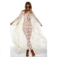 jupon achat en gros de-Cover Up Beach Femme Jupe de bain Paréo Robes D'été Femme Tunique Sarong 2019 Soie Cou Sexy Robe Petticoat Floral Acétate T5190614