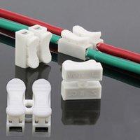 hızlı eklemler toptan satış-Toptan 30 adet / grup Hızlı Splice Kilit Tel Konnektörler CH2 2 Pins Elektrik Kablo Terminalleri 20x17.5x13.5mm