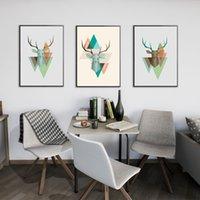 tiere gehangene wand großhandel-3 Stücke Moderne Leinwand Wandkunst Bild Geweih Malerei Tiere Deer Ölgemälde Für Wohnzimmer Dekoration Hängen