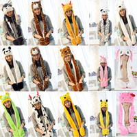 Wholesale pikachu woman costume online - New Cartoon Animal Plush Scarves Hats Pikachu Winter Women Children Costume Hats Cap With Long Scarf Gloves Earmuffs Christmas Hats HH7