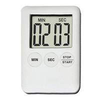 dijital sayaçlar sayaçları toptan satış-Dikdörtgen LCD 100 Mins Digitale Mutfak Zamanlayıcı Pişirme Zamanlayıcı Çalar Saat Ultrathin Geri Sayım Süresi Sayacı Masa Saati 2 Renkler
