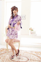 Wholesale hot lingerie kimono online - sexy lingerie purple flower printed bowknet new hot kimono band women dress set