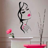 настенные гвозди оптовых-Wall Decal Beauty Salon Manicure Nail Salon Hand Girl Face Vinyl Sticker Home Decor Hairdresser Hairstyle Wall Sticker