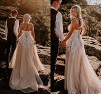 Wholesale lace corset back wedding dresses online - 2019 White Appliques Lace A Line Beach Wedding Dresses Corset Back Champagne Tulle Boho Bridal Gowns Plus Size Custom Made Vestidos De Novia