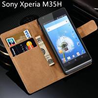 estuche negro xperia al por mayor-C 5303 para Sony Xperia SP Funda M35H Flip de cuero de lujo caliente con diseño de soporte cubierta del teléfono móvil C530x negro C5303 casos