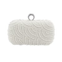 Wholesale made pearls bag for sale - Group buy The Hand made Luxury Pearl Clutch bags Women Purse Diamond Chain white Evening Bags for Party Wedding black Bolsa Feminina