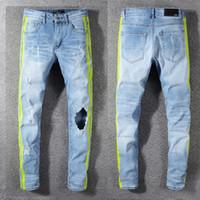 ingrosso denim cowboy-Nuovi jeans AMIRI Jeans Denim dritti Jeans skinny Pantaloni casual Cowboy Famous Brand Zipper biker Vendita calda Mens Amiri Jeans