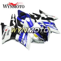 funda carenado yamaha r6 al por mayor-Carenados de motocicleta completos para Yamaha YZF 600 R6 2008 - 2016 09 10 11 12 13 14 15 ABS Inyección de plástico Motocicletas Fundas Azul Blanco Cubiertas
