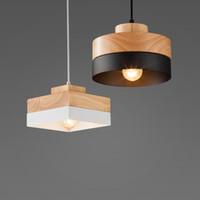 ingrosso lampade in legno-Moda moderna legno + rion bar Cafe ristorante lampada a sospensione studio ufficio corridoio corridoio soggiorno sala da pranzo luce lampadario