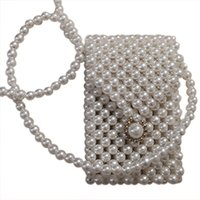 женские сумочки из жемчуга оптовых-Super Mini Pearl Crossbody Cross Body Bag Fashion Cute Girls Purses Handbags Handmade Beaded Bag Waist Pack(White)