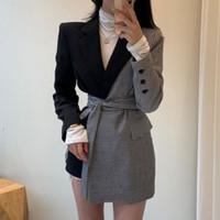 Vintage Plaid Patchwork Women Blazer Spring Long Sleeve Matching Irregular Women Jackets Coat With Belts Vintage Suit Coats