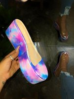 Wholesale beige color slippers for sale - Group buy 2020 spring explosion star sky pvc thick slippers comfortable wild color sandals