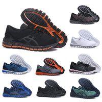 tejidos para negros al por mayor-ASICS Zapatos para correr Gel-Quantum 360 Buffer Knit zapatos para hombre Teje Vamp negro blanco rojo azul Zapatillas deportivas zapatillas deportivas de mujer
