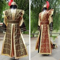 antik erkekler giyim toptan satış-Çin Ulusal Hanfu Sarı Kırmızı Antik Çin Kostüm Hanfu Erkek Giyim Geleneksel Ulusal Tang Takım Sahne Kostüm DWY1139