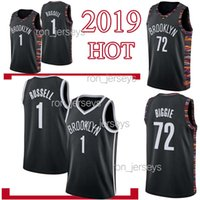 Wholesale men basketball t shirts for sale - Group buy BROOKLYN jerseys NETS D Angelo Russell Black Biggie jerseys Maillots de basketball top quality t shirt