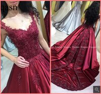 Wholesale best black pearls resale online - Robe de soiree burgundy satin lace appliques ball gown prom dresses beaded sequins with pearls princess puffy prom gowns best selling
