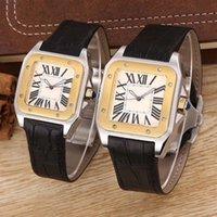 xl altın saatler toptan satış-En kaliteli kadın Lady Erkekler 100 XL İzle Kuvars Mekanik İzle Deri Altın gümüş Durumda erkek Spor toka Saatı