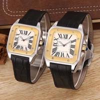 xl relojes de oro al por mayor-Reloj de cuarzo mecánico de señora Gold Men 100 XL para mujer, de calidad superior, de cuero, dorado, plateado, cierre de deportes para hombres, relojes de pulsera