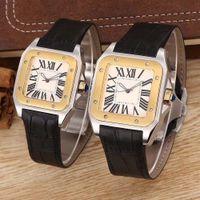 xl gold uhren großhandel-Top-Qualität Damen Lady Men 100 XL Uhr Quarz Mechanische Uhr Leder Gold Silber Fall Herren Sportverschluss Armbanduhren