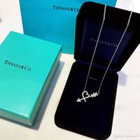 mavi hediye kutuları toptan satış-Paloma Graffiti Aşk Kalp Ok Kadınlar Takı Orijinal Mavi Kutu ile TFCo 925 Ayar Gümüş Tasarımcı Kolye Ambalaj Hediye Şekli