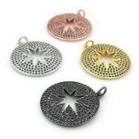 collar de punta hueca al por mayor-24 * 24 * 2 mm Micro Pave negro CZ Hollow Ocho Estrella puntiaguda encantos redondos aptos para hacer pulseras o collares de bricolaje joyería