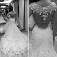 Wholesale lace sparkly wedding dresses for sale - Group buy Rami Salamoun Princess Wedding Dresses Mermaid Luxury Sparkly Crystal Full Lace Floral Garden Castle Wedding Gown