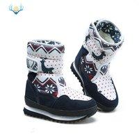 sola feminina para botas venda por atacado-Meninas Botas de Inverno Crianças Bota de Neve Crianças Novo Design Sapatos de Natal Quente De Lã De Pele Natural Dentro Não-slip Sole Botas Femininas Zapatos Mujer