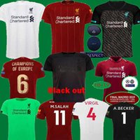 maillot football achat en gros de-thailand 19 20 New Blackout Salah Black maillots de football 2019 2020 kit pour enfants VIRGIL HENDERSON FIRMINO KEITA SHAQIRI Maillots de football à manches longues