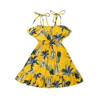 ingrosso abiti da sposa gialli della bambina-Pudcoco 2019 Estate Toddler Kid Baby Girl Flower Tutu Abiti Giallo Party Pageant Beach Sundress