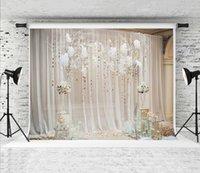 fundo cortina casamento branco venda por atacado-Sonho 7x5ft Branco Floral Cortina De Casamento Fotografia Pano De Fundo Cerimônia Indoor Decoração Da Flor de Fundo Da Foto para Festa de Aniversário Atirar Prop