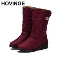 Wholesale anti slip shoes for women resale online - HOVINGE New Women Warm Solid Anti Slip Snow Boots Waterproof Female Winter Boots Thermal Shoes For Women
