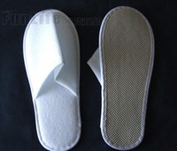 Wholesale eva clogs slipper for sale - Group buy Disposable Hotel Towelling Slippers With EVA Sole Closed Toe Travel Spa Guest Shoes pairs