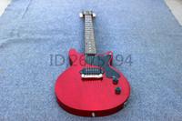 heiße chinesische gitarren großhandel-Hot! Kostenlose lieferung Chinesische rote benutzerdefinierte gitarre 6 string e-gitarre mahagoni korpus mahagoni griffbrett stark