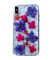 bolsa iphone flor al por mayor-Moda TPU PC Híbrido Hecho con flores reales Estuche de diseño protector delgado con bolsa Opp para iPhone 6 7 8 Plus X XR XS MAX