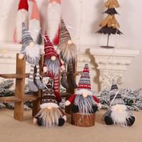 asılı bebek dekorasyonu toptan satış-Kolye Tatil Dekor Hediye Ağacı Süslemeleri Asma Noel Süs Örme Peluş Gnome Doll Noel Ağacı Duvar