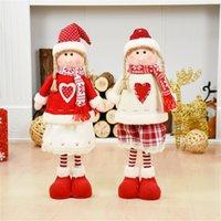 ingrosso rosa bambola rosa natalizia-Red Christmas Dolls Decorazioni natalizie per la casa Babbo Natale Pupazzo di neve Giocattoli Regalo di Natale Figurine Adornos De Navidad Para Casa