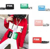 geldbeutel für mädchen groihandel-Pink Letter Nylon Card Bag Frauen Mädchen Lanyard Kechain ID Kreditkartensteckplatz Tasche Geld Tasche Geldbörse Phone Straps Clutch Pouch