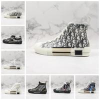 ingrosso moda stivali vintage-19SS B23 Sneakers alte oblique piattaforma vintage Fiori Tela tecnica di lusso Scarpe da uomo firmate Moda Sneakers da donna Scarpe Stivali