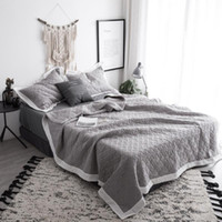 Wholesale solid quilted bedding online - Bedspread Queen size Bed spread set Cotton Quilted Solid color Gray White Bed set Cover Suitable for Adults cubrecama
