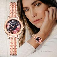 relógio de quartzo flor das senhoras venda por atacado-Assista Mulheres Moda Luxo Rose Gold Ladies Bracelet Watch Mulheres Dial Criativo Quartz Mulheres Vestido Relógios Relogio feminino