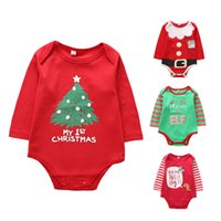 erkek çocuklar yürümeye başlayan çocuklar toptan satış-Kaliteli bebekler karikatür tulum erkek kız bebek yaz pamuk onesies Noel ağacı desen baskı toddler pijama